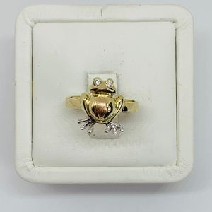Real 14k Solid Multi-tone Gold Ring Frog Size 8